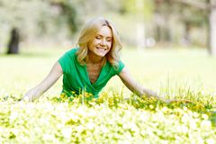 Woman enjoy nature Stock Photography