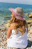 Woman enjoy sea Stock Image