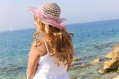 Woman enjoy sea Stock Images