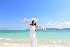 Woman enjoy the sun. Royalty Free Stock Photo