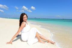 Woman enjoy the sun. Stock Photos