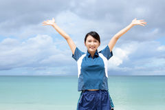 Woman enjoy the sun. Royalty Free Stock Images