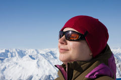 Woman enjoy sun in winter Royalty Free Stock Photos