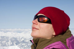 Woman enjoy sun in winter Stock Image