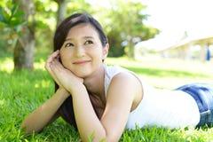Woman enjoy the sun. Stock Photo