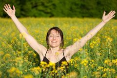 Woman enjoy sunlight Stock Images