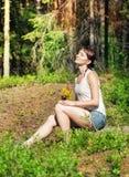 Woman enjoy sunlight outdoor Royalty Free Stock Photos