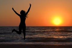Woman enjoy sunrise Royalty Free Stock Photos