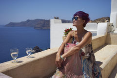 Woman enjoy sunshine at Santorini Royalty Free Stock Photos