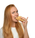 Woman enjoy sweet croissant. Unhealthy junk food dessert concept Stock Photo