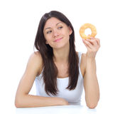Woman enjoy sweet donut Royalty Free Stock Photo