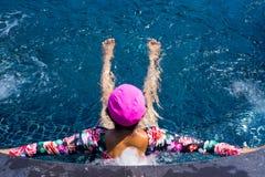 Woman enjoy swimming pool freedom Royalty Free Stock Photo