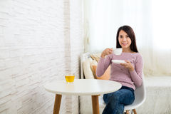 Woman enjoy tea Stock Photo