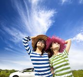 Woman enjoy vacation  on road trip Stock Photo
