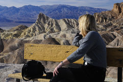 Woman enjoy the views of death valley Royalty Free Stock Photography