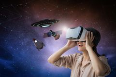 Woman enjoy vr experience stock image
