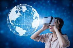 Woman enjoy vr headset stock images