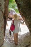 Woman enjoying Anse Lazio picture perfect beach on Praslin Island, Seychelles. Stock Images