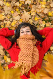 Woman enjoying autumn Royalty Free Stock Images