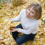 Woman enjoying autumn Stock Photography