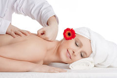 Woman Enjoying Back Massage at Beauty Spa Stock Image