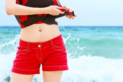 Woman enjoying in beach. Young beautiful woman enjoying in beach Stock Images