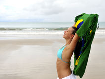 Woman enjoying the beach Royalty Free Stock Images