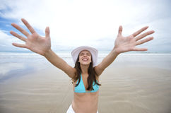 Woman enjoying the beach in brazil Stock Images