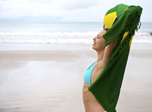 Woman enjoying the beach in brazil Royalty Free Stock Images