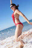 Woman Enjoying Beach Holiday Royalty Free Stock Images