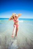 Woman enjoying on beach Royalty Free Stock Photography