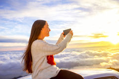 Woman enjoying beautiful cloudscape Royalty Free Stock Photography