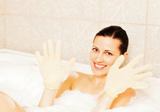 Woman enjoying bubble bath Royalty Free Stock Image