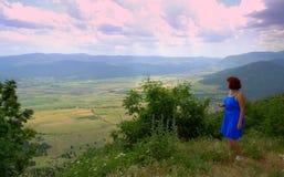 Woman enjoying Bulgarian landscape royalty free stock images