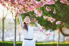 Woman enjoying cherry blossom season in Paris, France. Happy young woman in white dress enjoying cherry blossom season in Paris, France Royalty Free Stock Photos