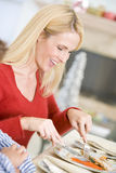 Woman Enjoying Christmas Dinner Royalty Free Stock Images