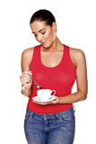 Woman enjoying coffee. Stock Photos
