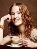 Woman enjoying coffee time Stock Photography