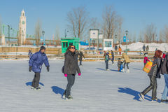 A woman ice skating Stock Photos