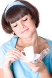 Woman enjoying a cup of coffee Stock Photos