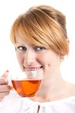 Woman enjoying a cup of tea Royalty Free Stock Images