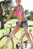 Woman Enjoying Cycle Ride Royalty Free Stock Images