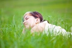 Woman enjoying a day outdoor Stock Images