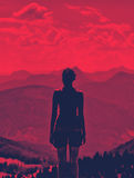 Woman enjoying a dramatic red sunset Royalty Free Stock Images