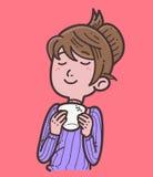 Woman enjoying drinking coffee or tea Stock Photos