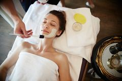 Woman Enjoying Face SPA royalty-vrije stock afbeelding