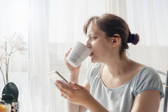 Woman Enjoying First Morning Coffe At Home Stock Images