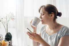 Woman Enjoying First Morning Coffe At Home Stock Image