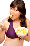 Woman enjoying fruit salad Royalty Free Stock Photos