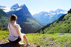 Woman enjoying glacier national park Royalty Free Stock Images